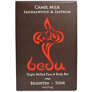 One with Nature, Triple Milled Face & Body Bar, Camel Milk Sandalwood & Saffron, 4 oz (113 g)