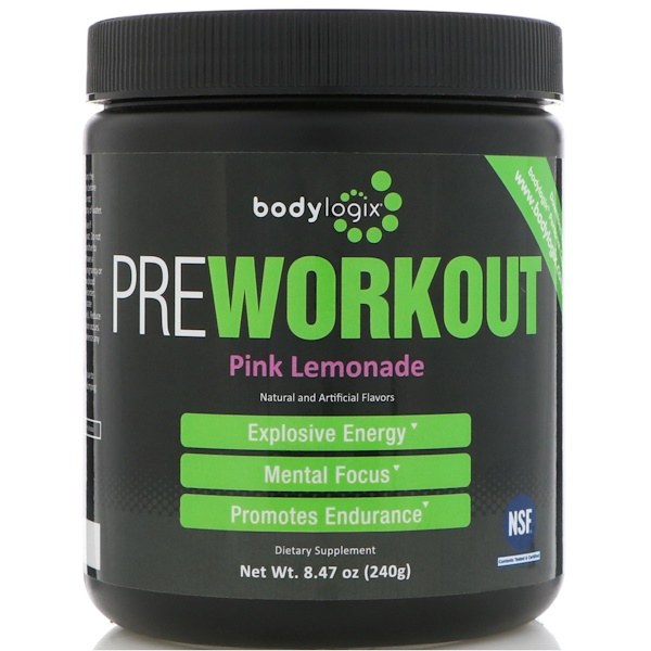 Bodylogix, 鍛煉前補充能量,粉色檸檬,8、47 盎司(240 克)