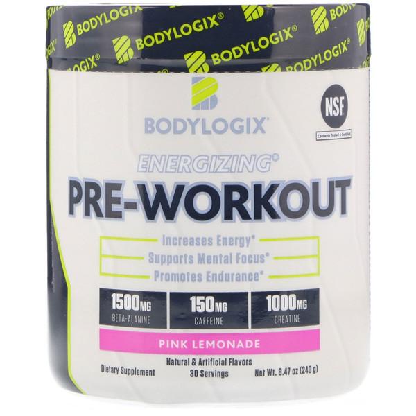 Bodylogix, طاقة ما قبل التدريب، عصير الليمون الوردي، 8.47 أوقية (240 غرام) (Discontinued Item)