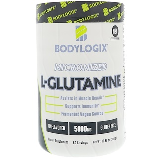 Bodylogix, Micronized L-Glutamine, Unflavored, 5000 mg, 10.58 oz (300 g)