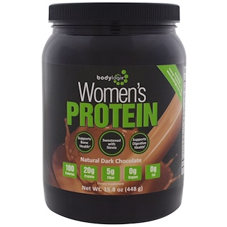 Bodylogix, La proteína de las mujeres en polvo, chocolate negro natural, 15.8 oz (448 g)