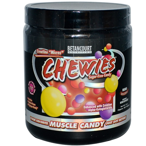 "Betancourt, Creatine ""Micros"" Chewies, Sugar-Free Candy, Insane Berry Blend, 8 oz (Approx. 567 Tablets) (Discontinued Item)"