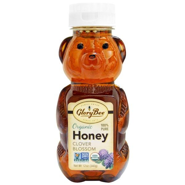 GloryBee, Organic Honey, Clover Blossom, 12 oz (340 g) (Discontinued Item)