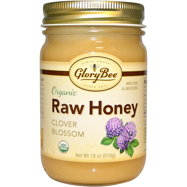 GloryBee, Organic Raw Honey, Clover Blossom, 1.1 lbs (510 g) (Discontinued Item)