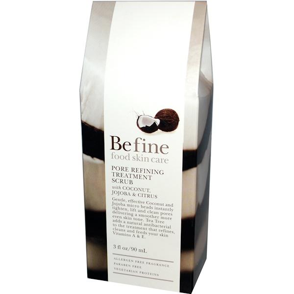 Be Fine Food Skin Care, Pore Refining Treatment Scrub with Coconut, Jojoba & Citrus, 3 fl oz (90 ml) (Discontinued Item)