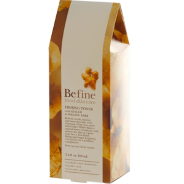 Be Fine Food Skin Care, Firming Toner with  Ginger & Willow Bark, 3.4 fl oz (100 ml) (Discontinued Item)