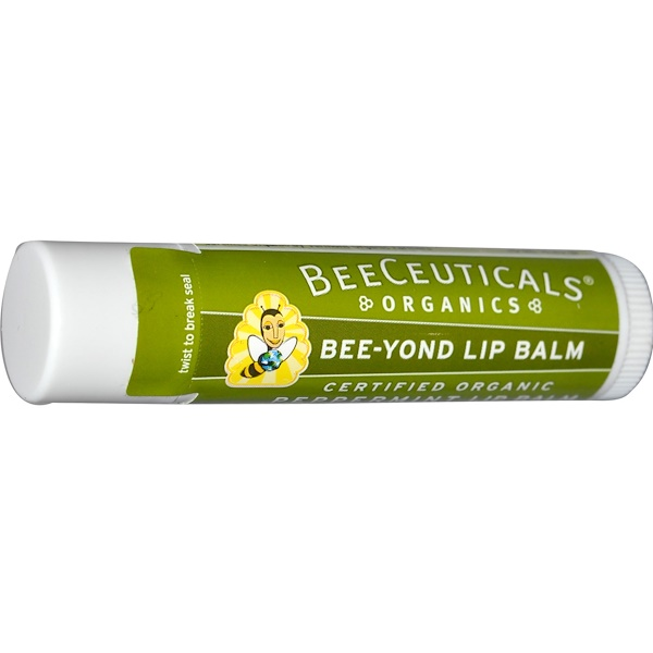 BeeCeuticals Organics, Organic, Bee-Yond Lip Balm, Peppermint, .15 oz (4.25 g) (Discontinued Item)