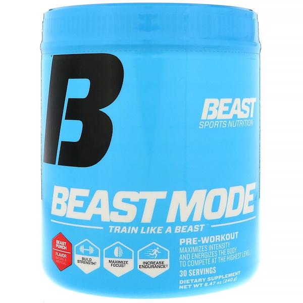 Beast Sports Nutrition, 營養,野獸模式鍛煉前補劑,野獸力量,8、47 盎司(240 克)