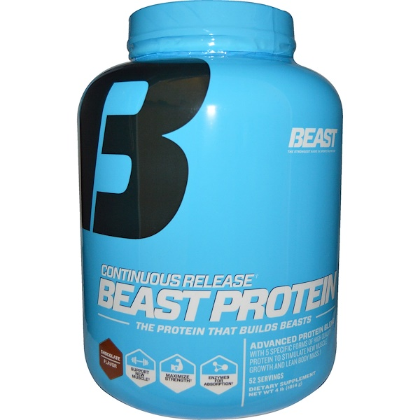 Beast Sports Nutrition, Beast Protein, Continuous Release, Chocolate Flavor, 4 lbs (1814 g)