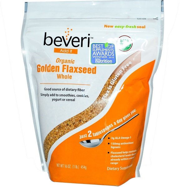 Beveri, Organic Golden Flaxseed, Whole, 16 oz (454 g) (Discontinued Item)