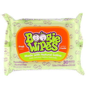 Boogie Wipes, Natural Saline Wipes for Stuffy Noses, Fresh Scent, 30 Wipes отзывы
