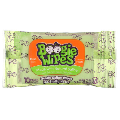 Boogie Wipes Gentle Saline Wipes for Stuffy Noses, Fresh Scent, 10 Wipes