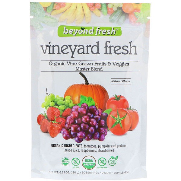 Beyond Fresh, Vineyard Fresh, Organic Vine-Grown Fruits & Veggies Master Blend, Natural Flavor, 6.35 oz (180 g) (Discontinued Item)