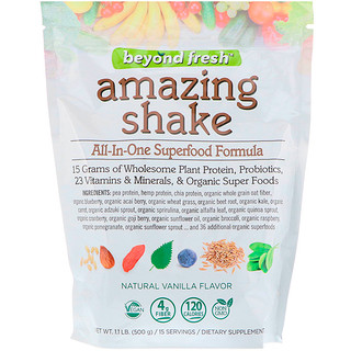 Beyond Fresh, Amazing Shake، الكل في واحد صيغة سوبر فود، نكهة الفانيليا الطبيعية، 1.1 رطل (500 جم)