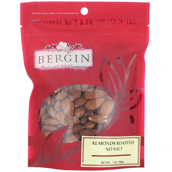 Bergin Fruit and Nut Company, Almonds Roasted, No Salt, 7 oz (198 g)