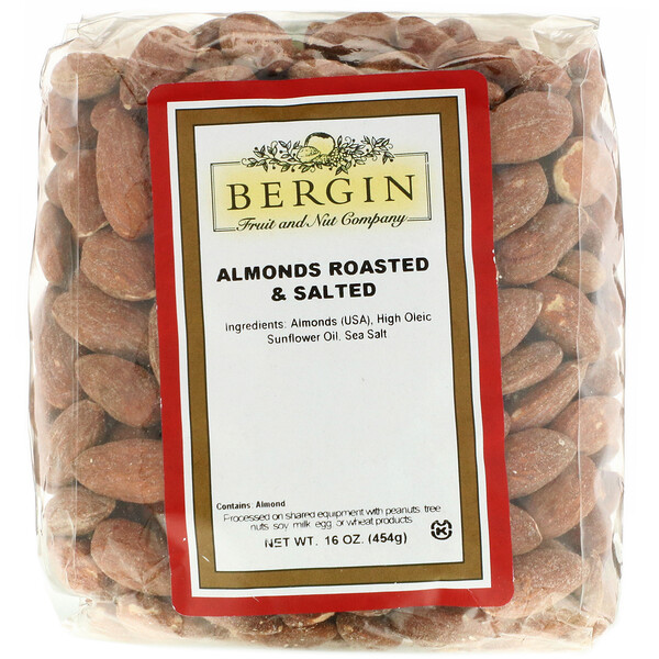 Bergin Fruit and Nut Company, Almonds Roasted & Salted, 16 oz (454 g)