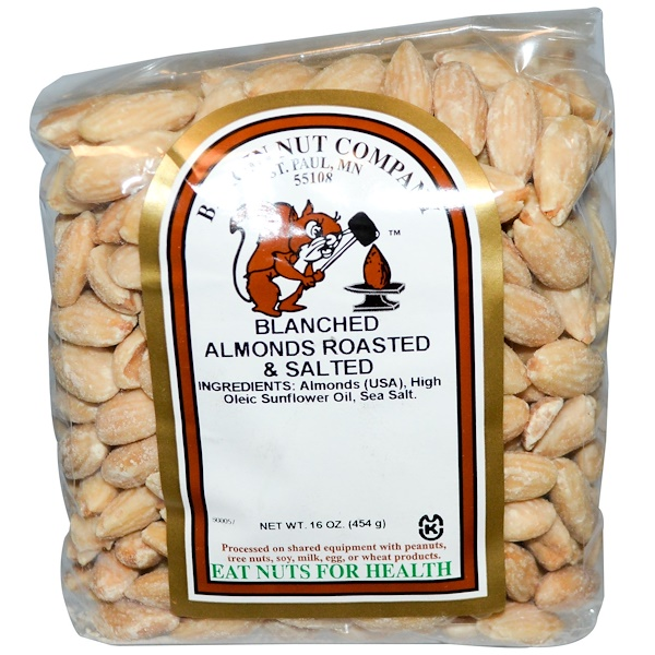 Bergin Fruit and Nut Company, Blanched Almonds, Roasted & Salted, 16 oz (454 g) (Discontinued Item)