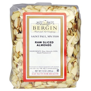 Bergin Fruit and Nut Company, Almendras crudas rebanadas, 12 oz (340 g)