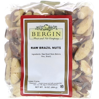 Bergin Fruit and Nut Company, Nueces de Brasil, Crudas, Completas, 16 oz
