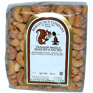 Bergin Fruit and Nut Company, Cashew, Whole, Roasted & Salted, 16 oz