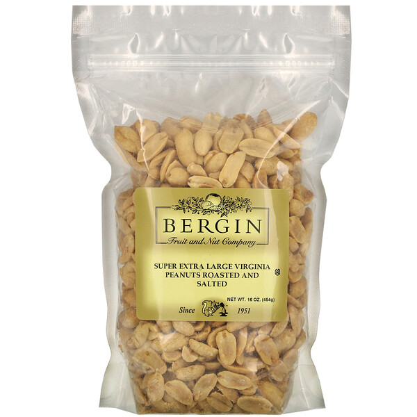 Bergin Fruit and Nut Company, Super Extra Large Virginia Peanuts Roasted and Salted, 16 oz (454 g)