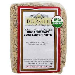 Bergin Fruit and Nut Company, Organic Raw Sunflower Nuts, 10 oz (284 g)