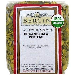 Bergin Fruit and Nut Company, Pépites bio crues, 284 g (10 oz)