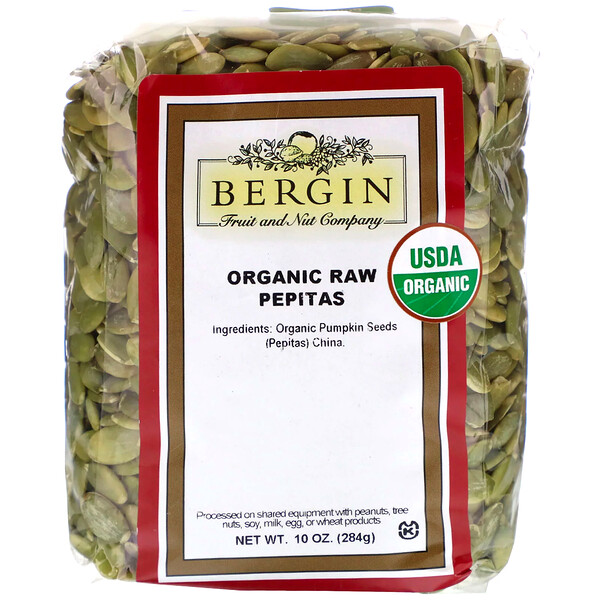 Bergin Fruit and Nut Company, Sementes de Abóbora Puras Orgânicas, 284 g (10 oz)