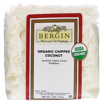 Купить Bergin Fruit and Nut Company Organic Chipped Coconut, 6 oz (170 g)