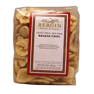 Bergin Fruit and Nut Company, Chips de Banana, 9 oz (255 g)