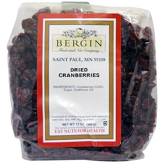 Bergin Fruit and Nut Company, Getrocknete Cranberries, 12 oz (340 g)