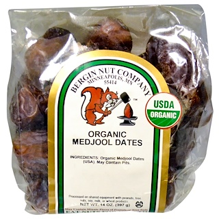 Bergin Fruit and Nut Company, オーガニック・マジュールデーツ(Medjool Dates)、14 oz (397 g)