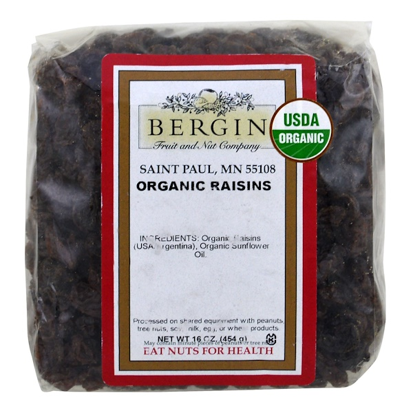 Bergin Fruit and Nut Company, Organic Raisins, 16 oz (454 g) (Discontinued Item)