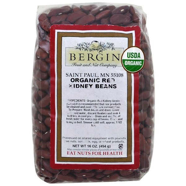 :Bergin Fruit and Nut Company, 有機紅腰豆,16 盎司(454 克)