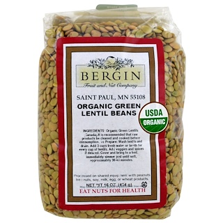 Bergin Fruit and Nut Company, Organic Green Lentil Beans, 16 oz (454 g)