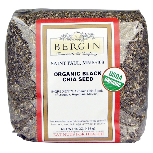 Bergin Fruit and Nut Company, Graines de chia noir bio, 16 oz (454 g)