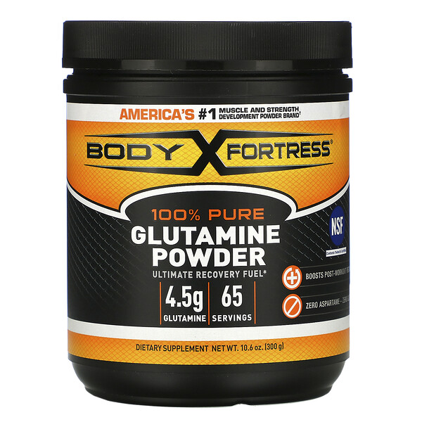 Body Fortress, 100% Pure Glutamine Powder, 10.6 oz (300 g) (Discontinued Item)