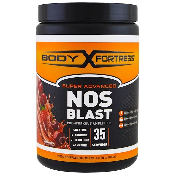 Body Fortress, Super Advanced NOS Blast, Fruit Punch, 1 lbs (454 g) (Discontinued Item)