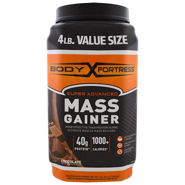 Body Fortress, Super Advanced Mass Gainer, Chocolate, 4 lbs (1,814 g) (Discontinued Item)