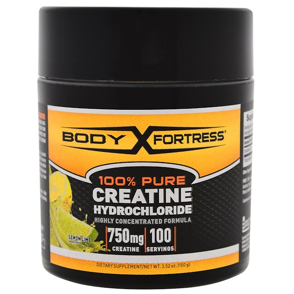 Body Fortress, 100% Pure Creatine HCL, Lemon-Lime, 3.52 oz (100 g) (Discontinued Item)