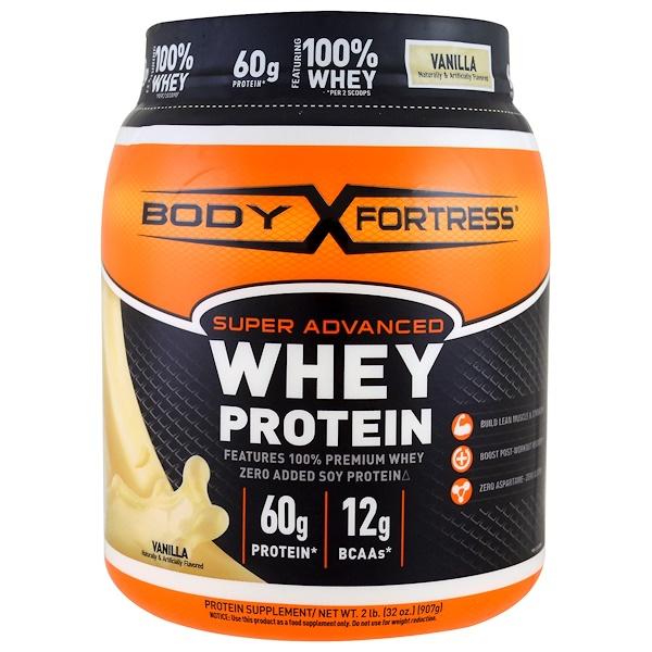 Body Fortress, Super Advanced Whey Protein Powder, Vanilla, 2 lbs (907 g) (Discontinued Item)