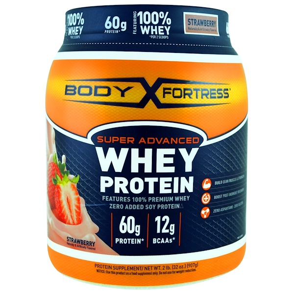 Body Fortress, Super Advanced Whey Protein Powder, Strawberry, 2 lbs (907 g) (Discontinued Item)
