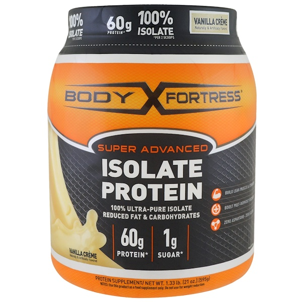 Body Fortress, Super Advanced 100% Protein Isolate, Vanilla, 1.33 lbs (595 g) (Discontinued Item)