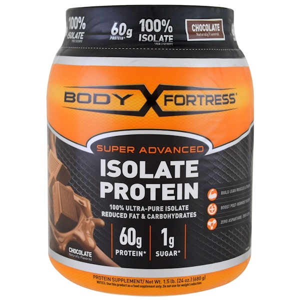 Body Fortress, Super Advanced 100% Protein Isolate, Chocolate, 1.5 lbs (680 g) (Discontinued Item)