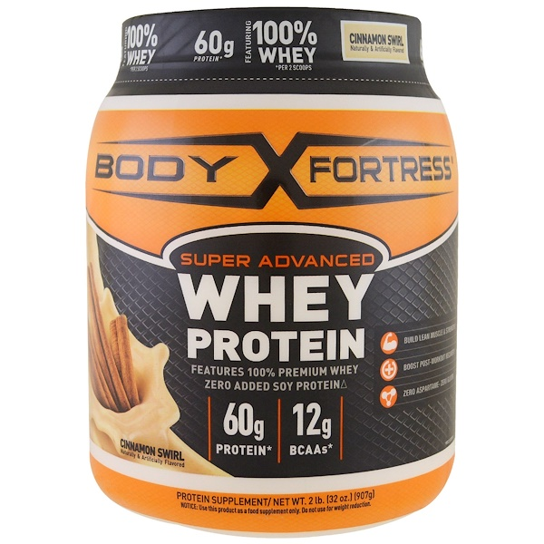 Body Fortress, Super Advanced Whey Protein Powder, Cinnamon Swirl, 2 lbs (907 g) (Discontinued Item)
