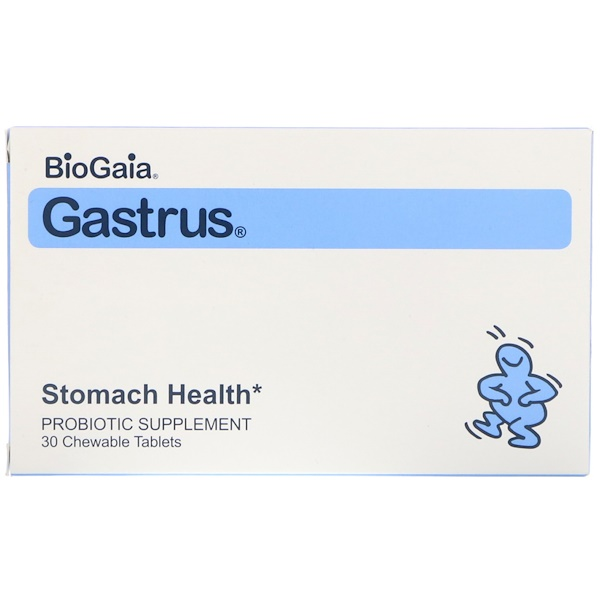 BioGaia, Gastrus, Stomach Health, Mandarin Orange Flavor, 30 Chewable Tablets