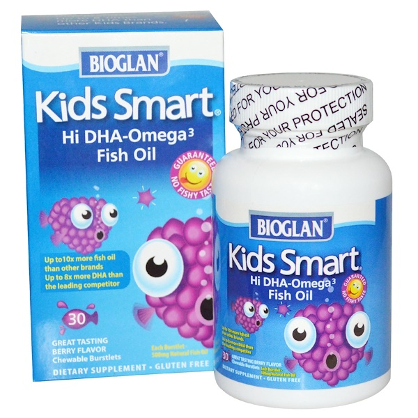 Bioglan, Kids Smart, Hi DHA-Omega 3 Fish Oil, Great Tasting Berry Flavor, 30 Chewable Burstlets