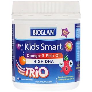 Bioglan, Kids Smart, Omega-3 Fish Oil, Trio Flavor, 180 Chewable Burstlets