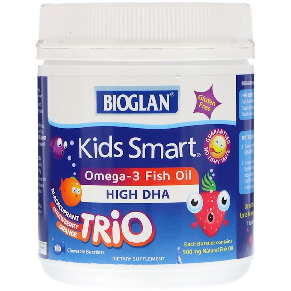 Bioglan, Kids Smart, Omega-3 Fish Oil, Blackcurrant, Strawberry, Orange Trio, 180 Chewable Burstlets (Discontinued Item)