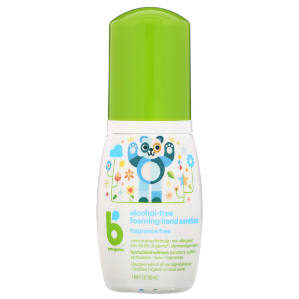 BabyGanics, Alcohol-Free, Foaming Hand Sanitizer, Fragrance-Free, 1.69 fl oz (50 ml)